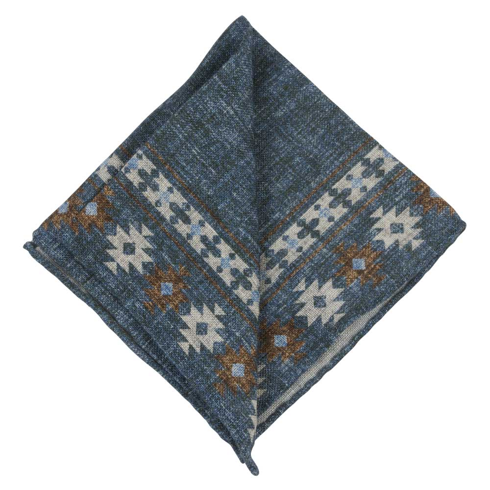 blue linen pocket square with white pattern folded