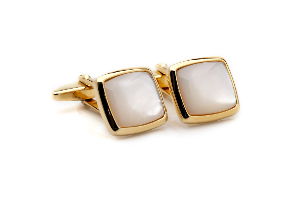 cufflinks gold square pearl