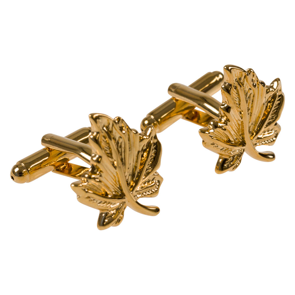 cufflinks gold leaf shape