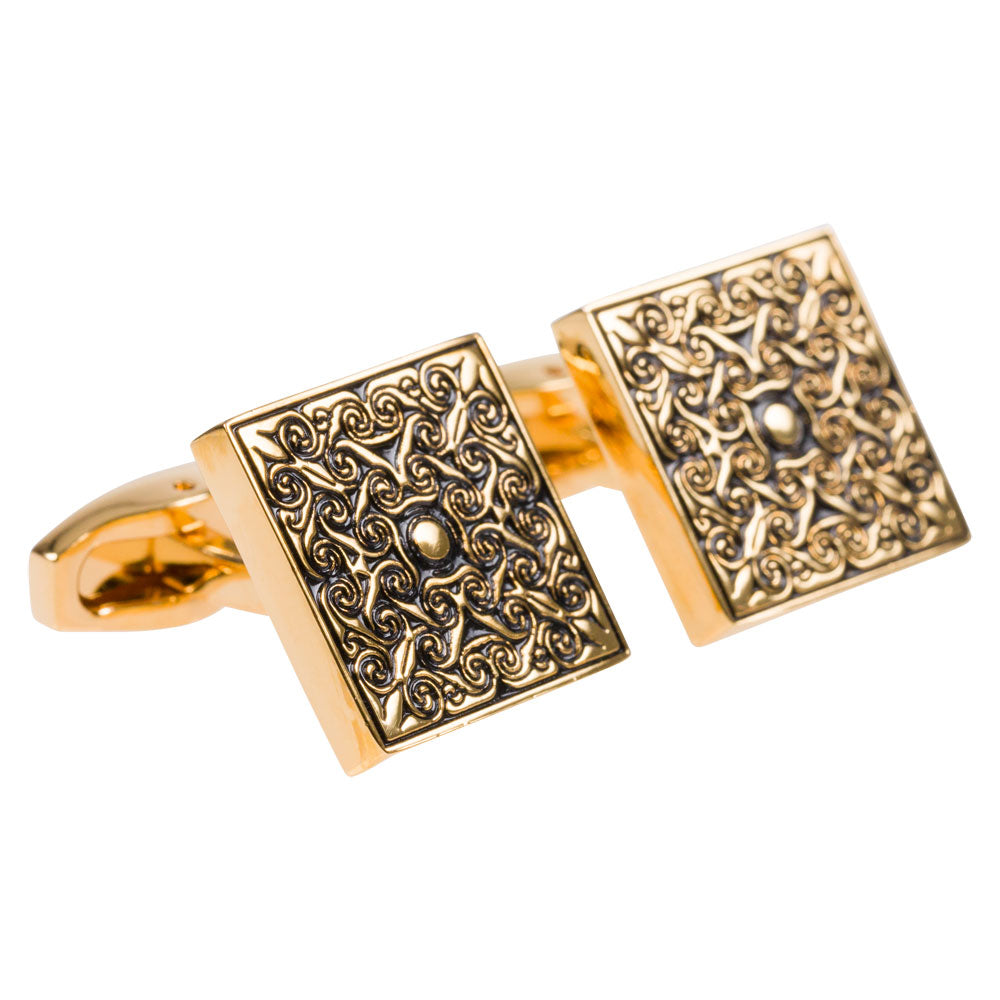cufflinks gold square pattern