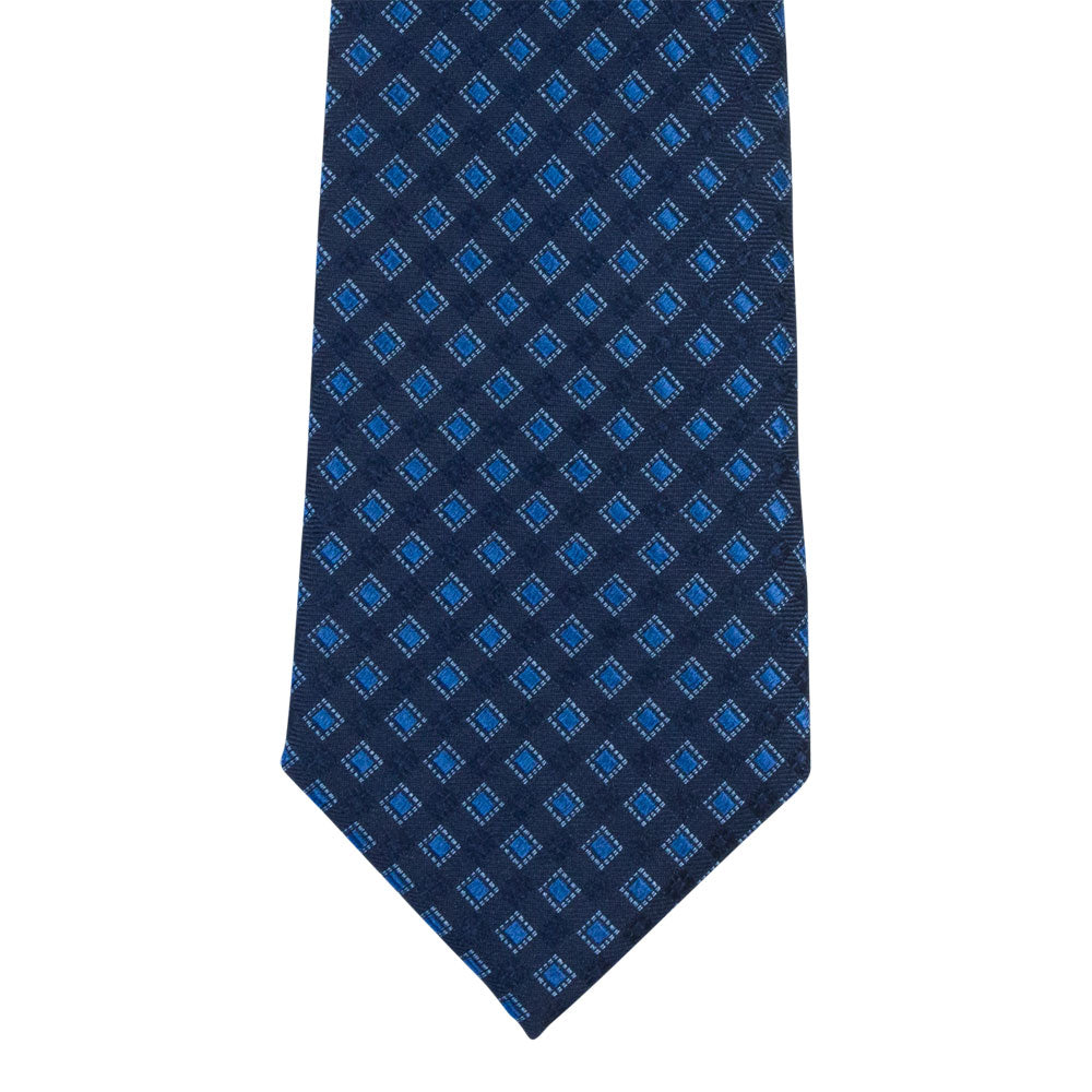 blue silk tie square pattern front