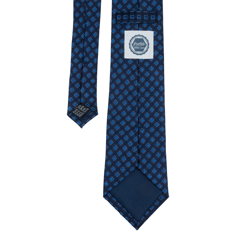 blue silk tie square pattern back