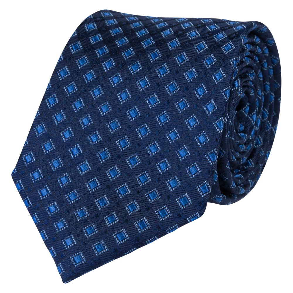 blue silk tie square pattern rolled