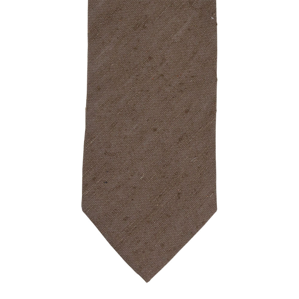 brown shantung silk tie front