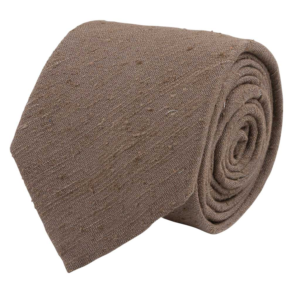 brown shantung silk tie rolled