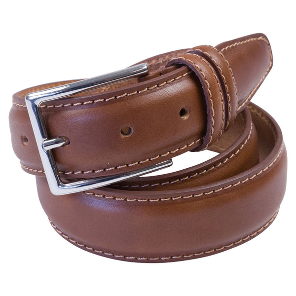 cognac leather belt rolled