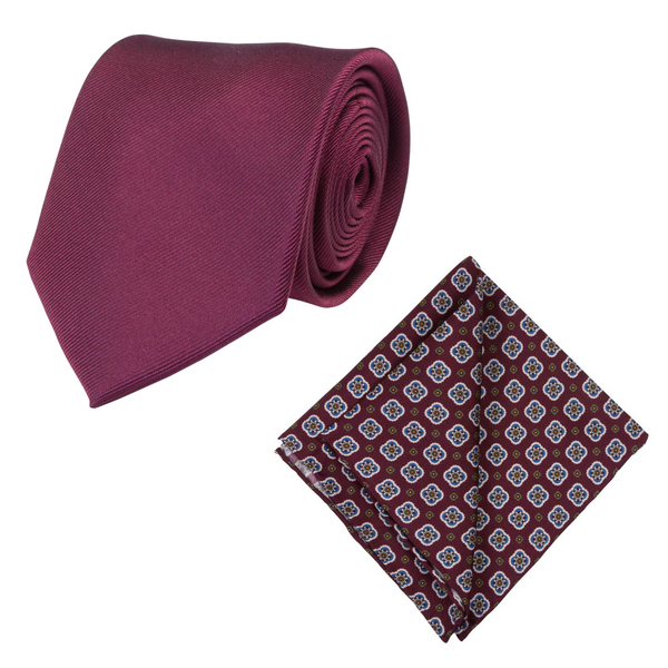 BURGUNDY SILK TIE SET