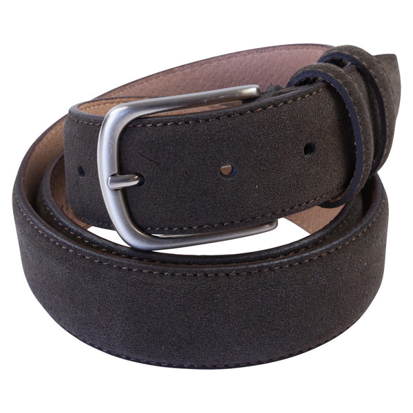 brown classic suede belt rolled