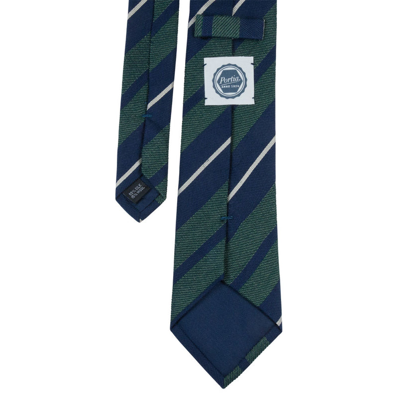 GREEN TIE SILK WOOL STRIPED