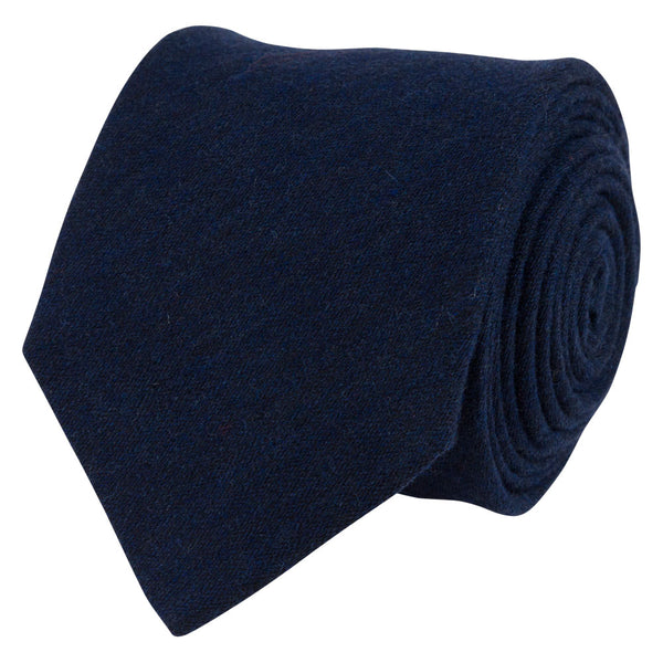 blue wool silk tie plain rolled