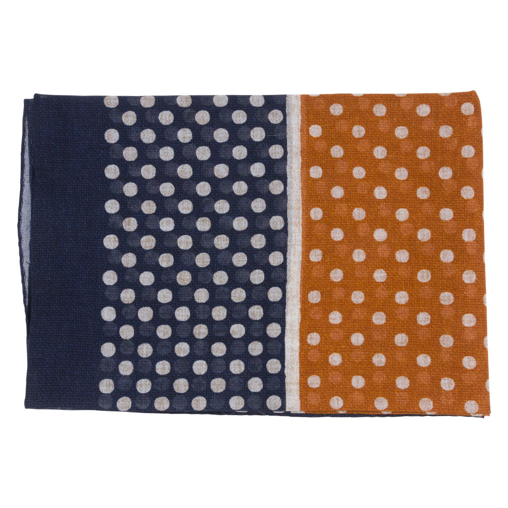 blue and orange male bandana with white dots flat