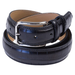 BLACK LEATHER BELT CROCO