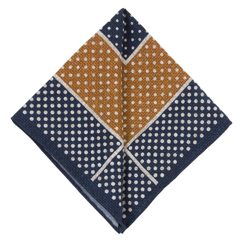 MUSTARD POCKET SQUARE SILK TROPEA DOTS