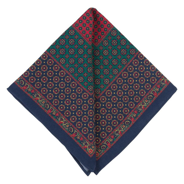 BLUE POCKET SQUARE SILK TROPEA FLOWERS