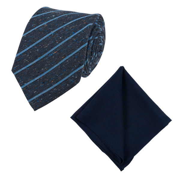 BLUE STRIPED TIE SET
