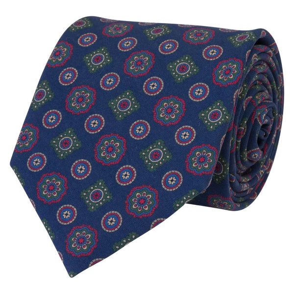 blue slik tie tropea medallion pattern rolled