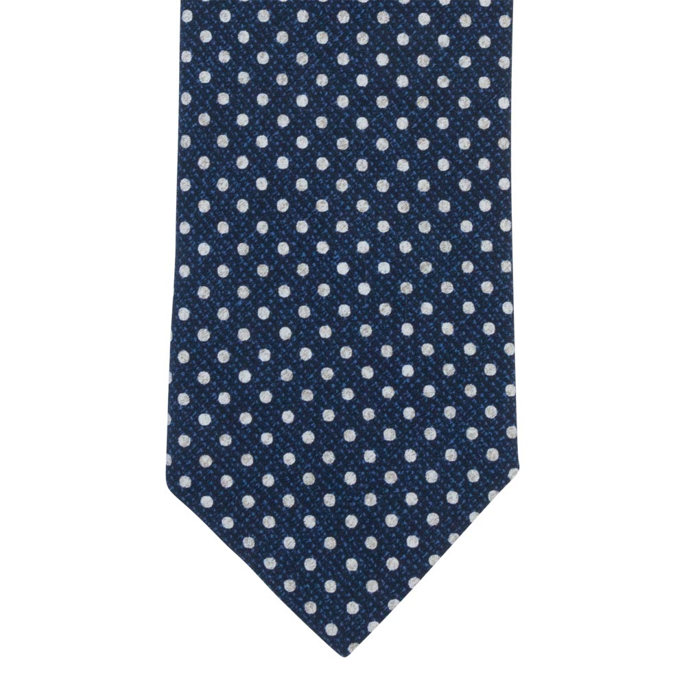 blue silk tropea tie white dots front