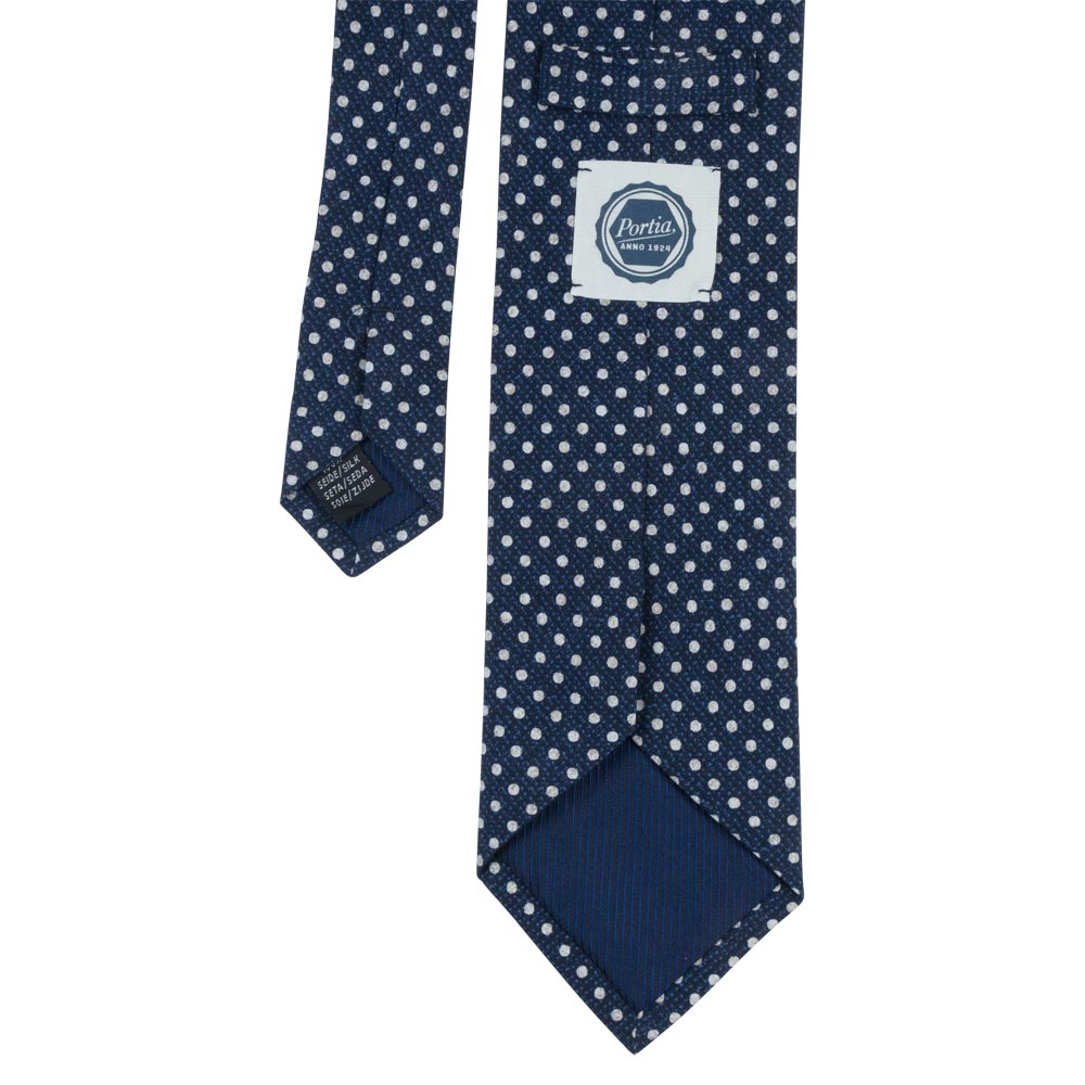 blue silk tropea tie white dots back