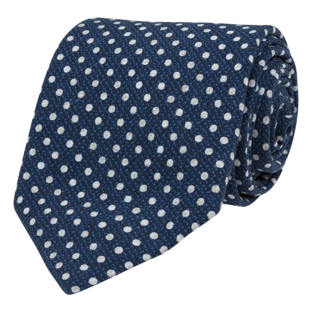 blue silk tropea tie white dots rolled