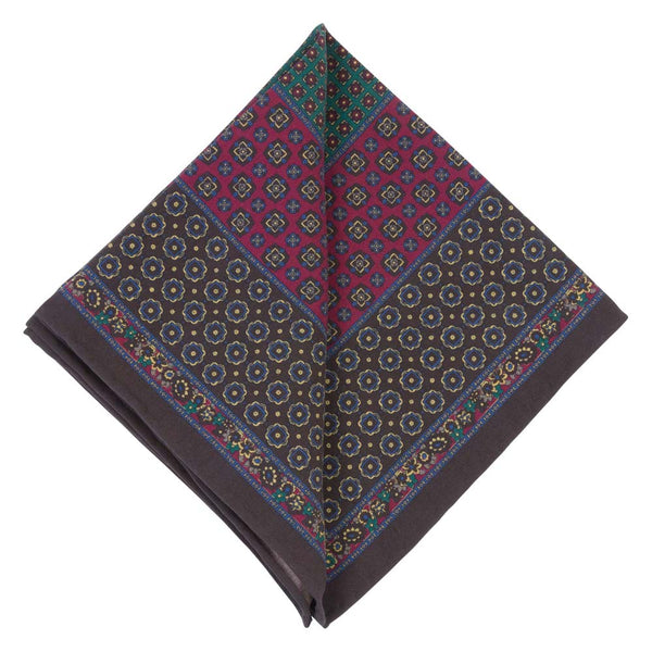 BROWN POCKET SQUARE SILK TROPEA FLOWERS