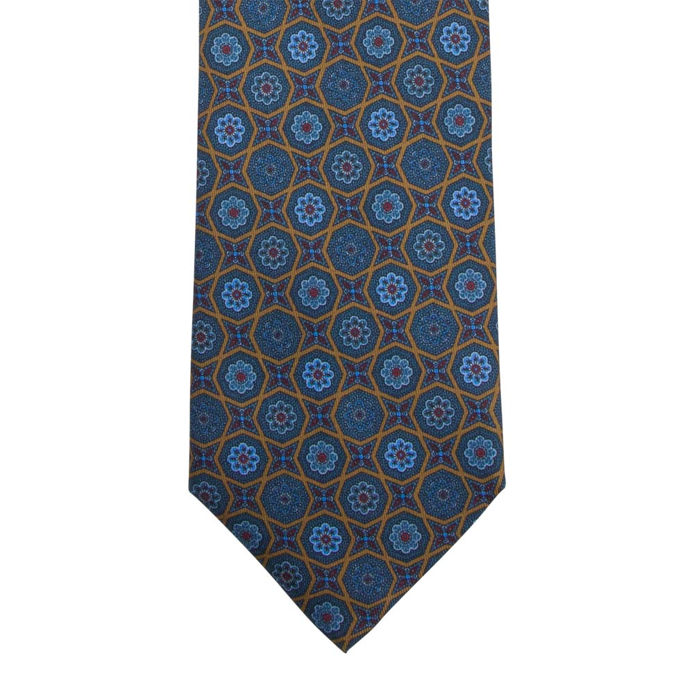 blue and brown patterned silk twill tie front