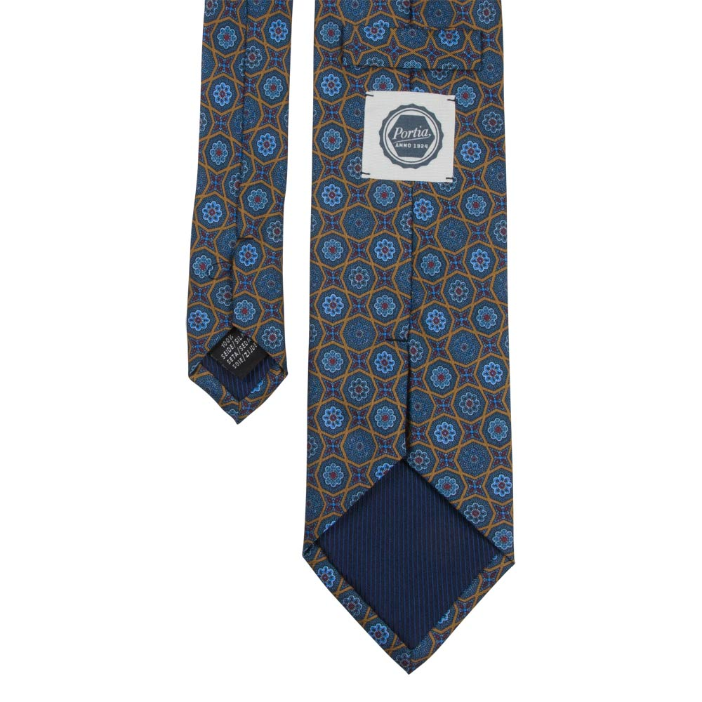 blue and brown patterned silk twill tie back