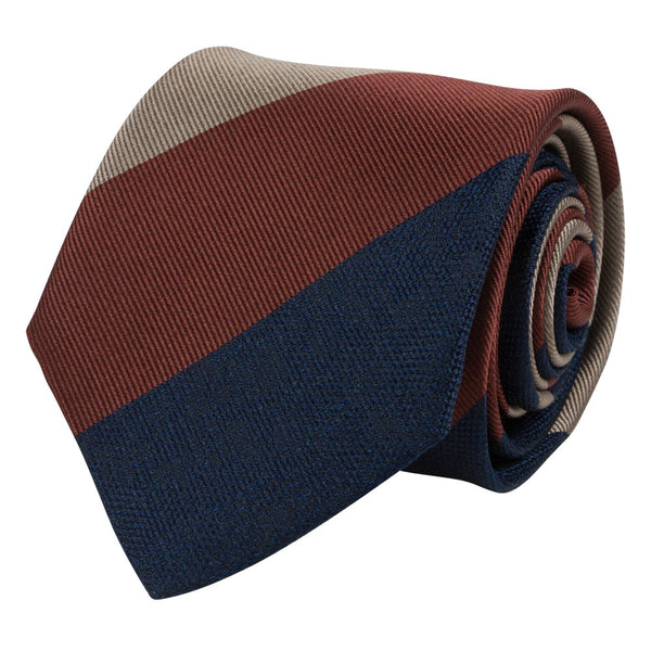 BROWN TIE SILK GRANDE STRIPED