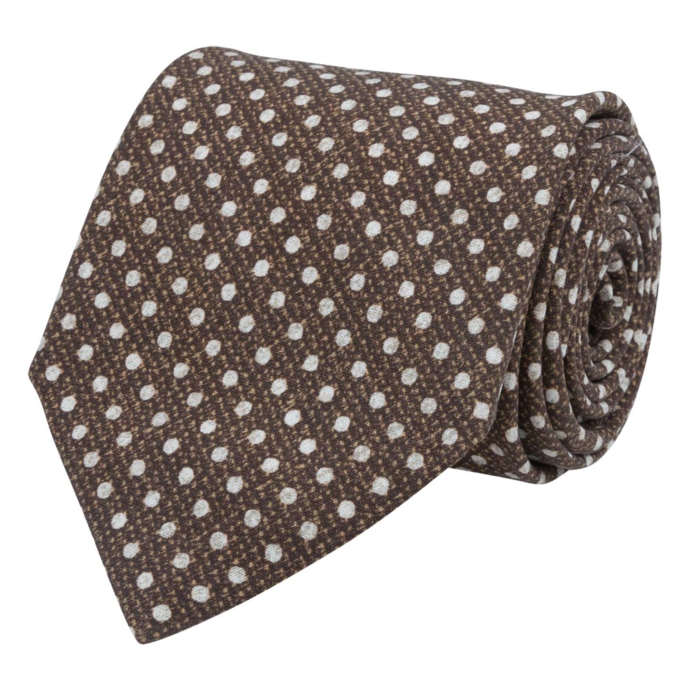 brown silk tela tie white dots rolled