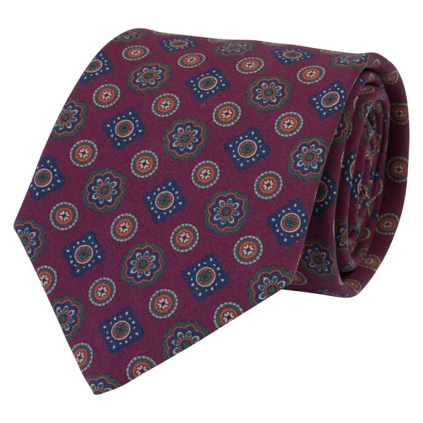 burgundy silk tropea tie medallion pattern rolled