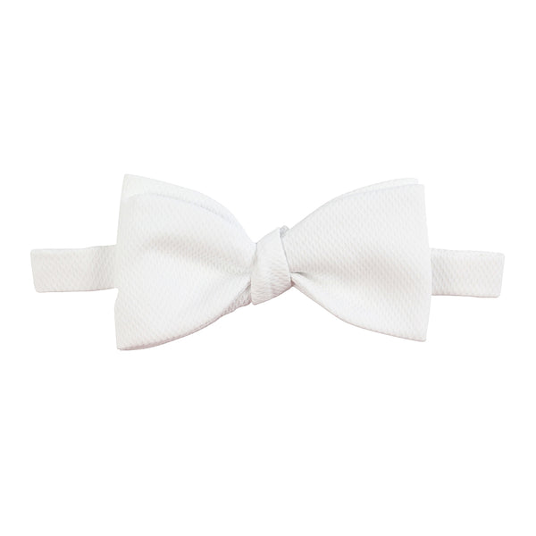 classic white pique bow tie cotton front