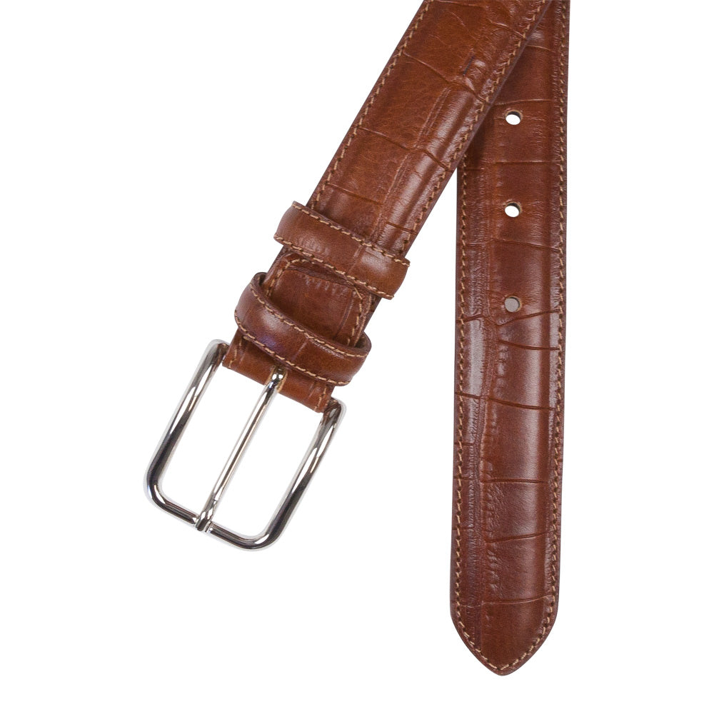 cognac leather croco belt male crossed buckle