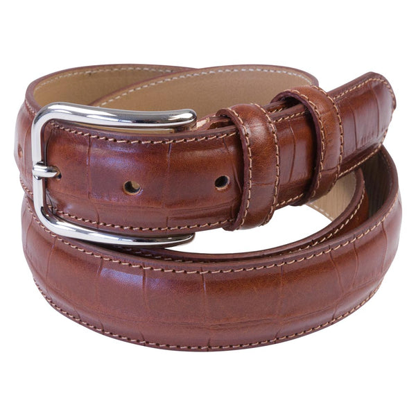 cognac leather croco belt male rolled