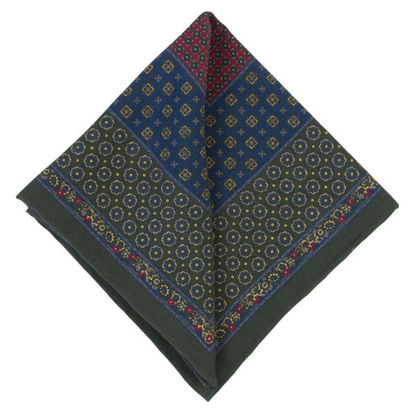 GREEN POCKET SQUARE SILK TROPEA FLOWERS
