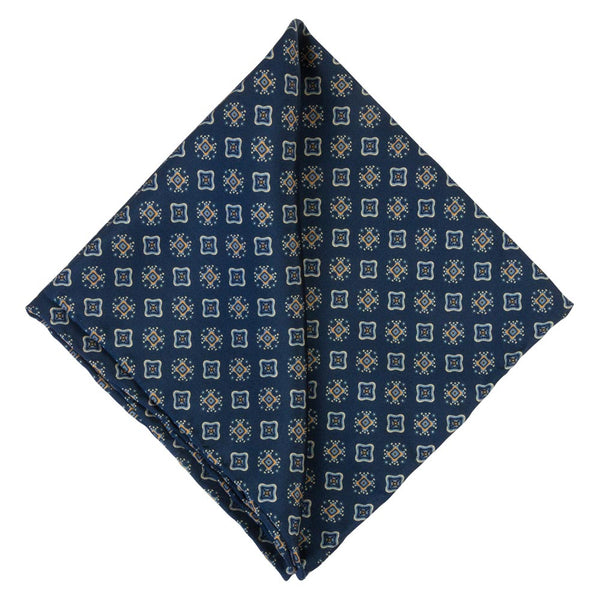 BLUE POCKET SQUARE SILK PERLA
