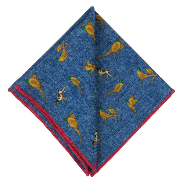 BLUE POCKET SQAURE WOOL MARTERA BIRDS