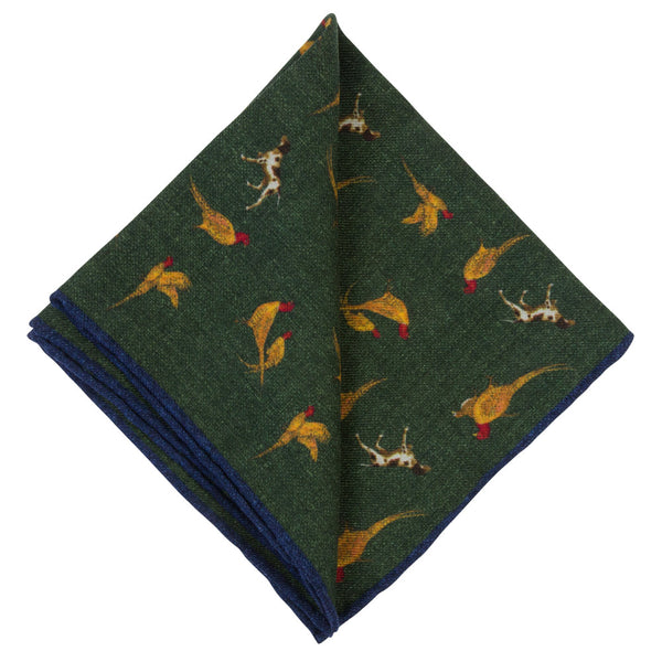 GREEN POCKET SQAURE WOOL MARTERA BIRDS