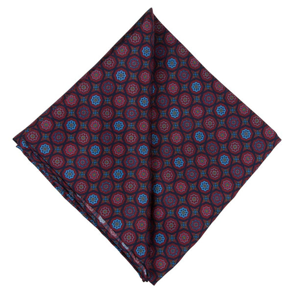 RED POCKET SQUARE SILK