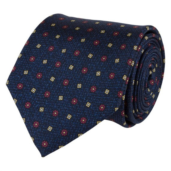 NAVY SILK TIE SET