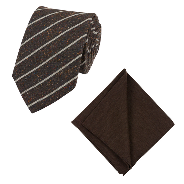 BROWN STRIPED TIE SET