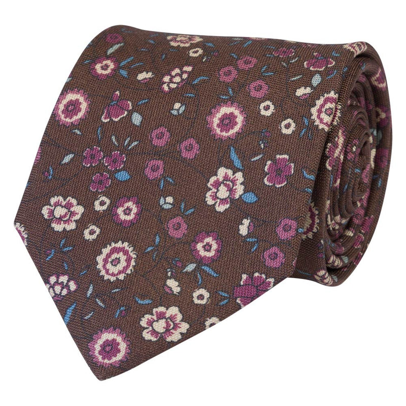 BROWN TIE SILK BRISTOL FLOWERS
