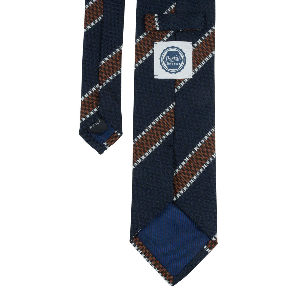 blue white brown striped wool tie back