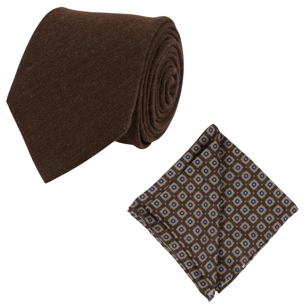 BROWN SILK WOOL TIE SET