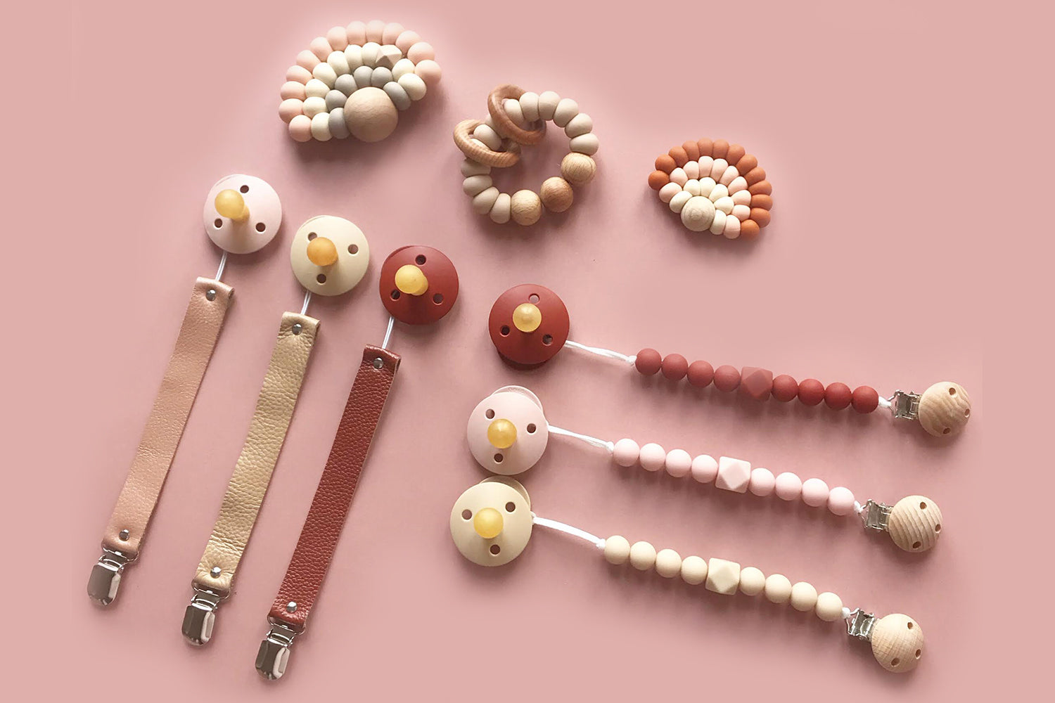 Kobby Silicone Beads Pacifier Clips - blush