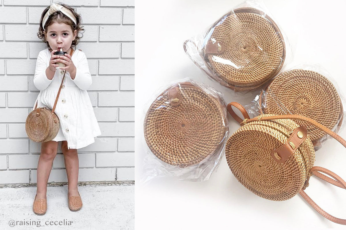 Aless Mini Rattan Round Bag - Size suitable for Mums and Kids - adjustable strap