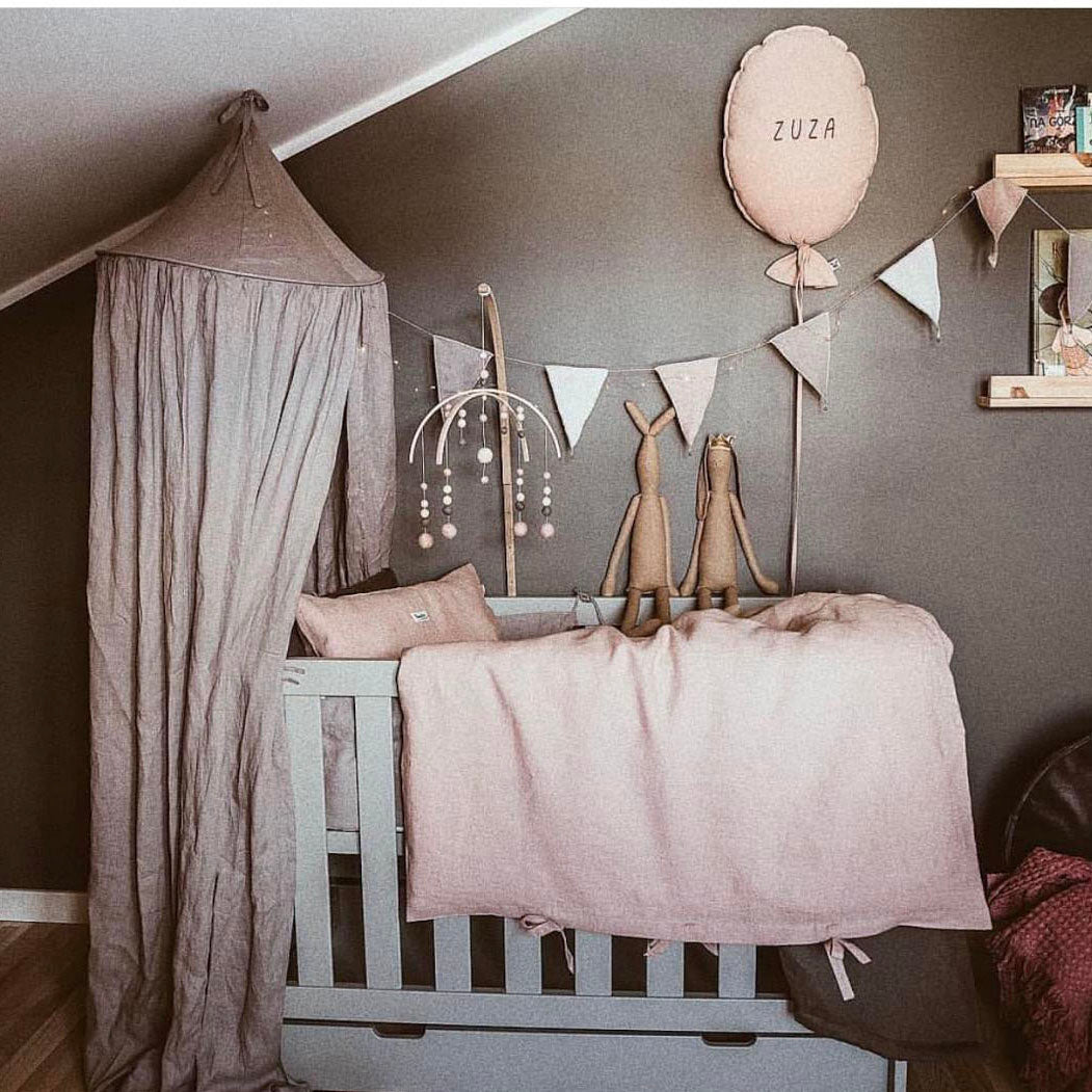 3 pcs set: Pure Linen bedding Quilt & Pillow Set & cot fitted sheets: Colours available: Dusty Pink & Grey