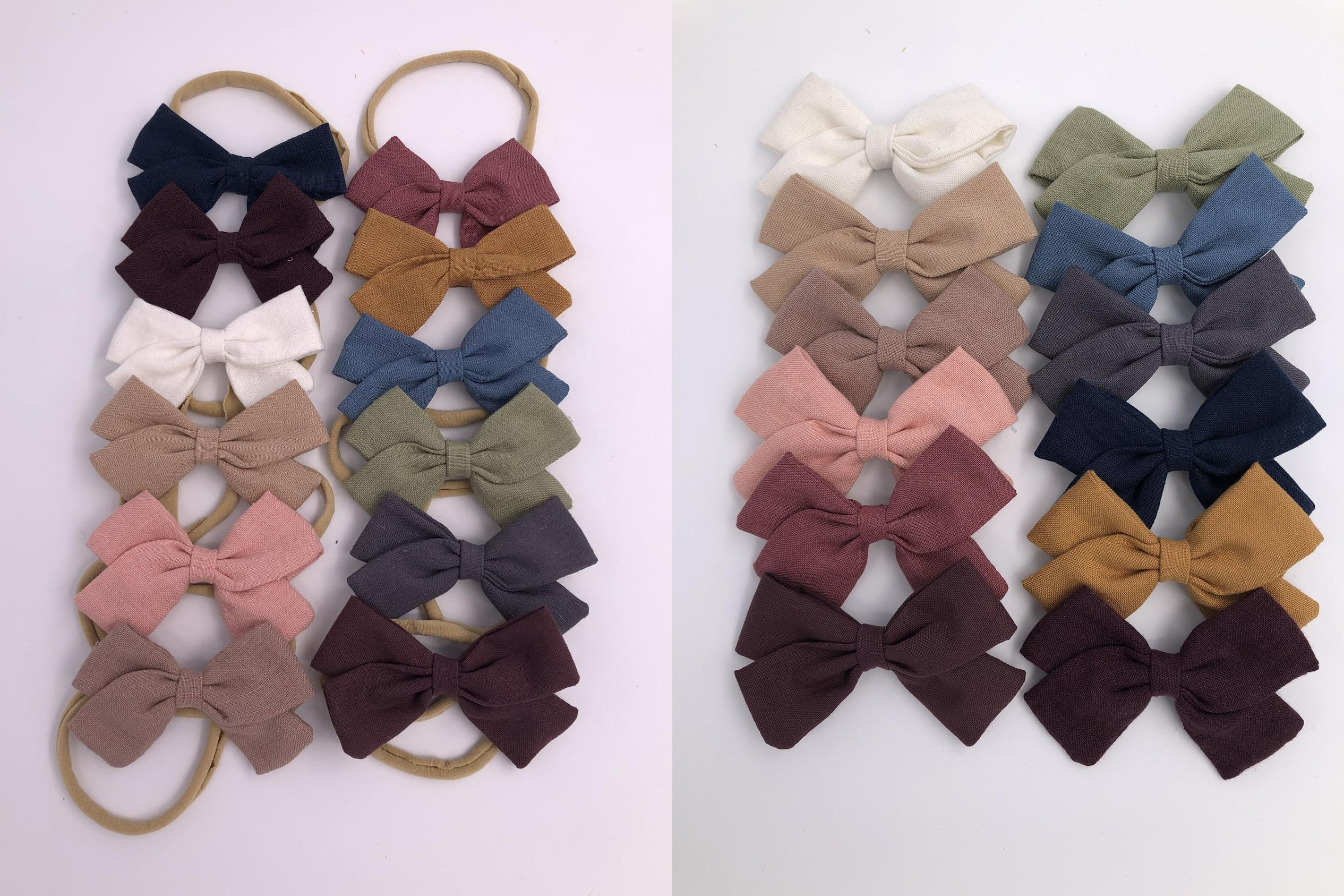 VALERIA BOW - handmade item: 12 colours available: hair bows or elastic headbands