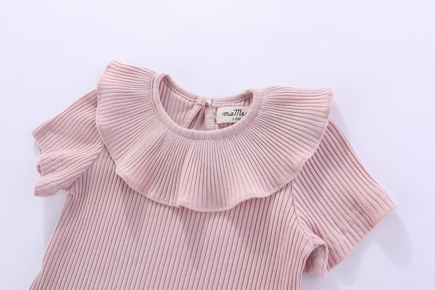 Florence Frilly Collar Short Sleeves 100% cotton bodysuit - 0-3M, 3-6M, 6-12M, 1-2Y