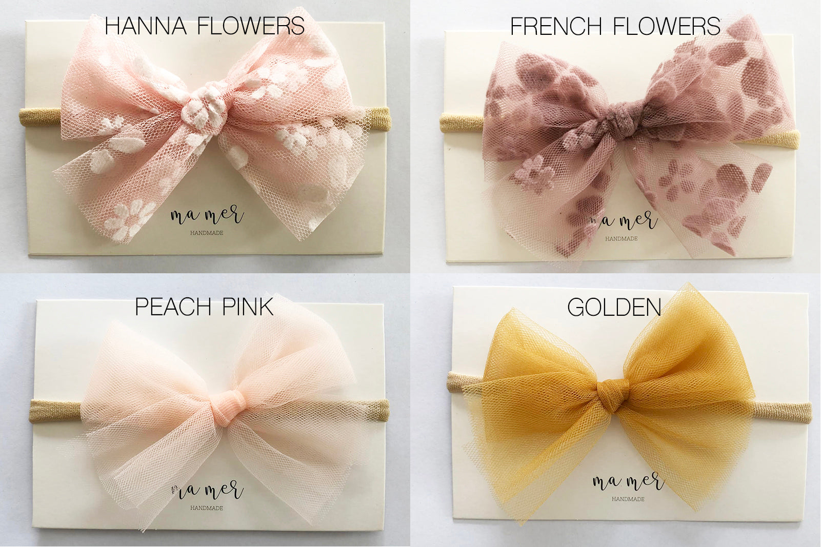 Valentina Handmade Tulle Bow: hair bows clip or elastic headbands