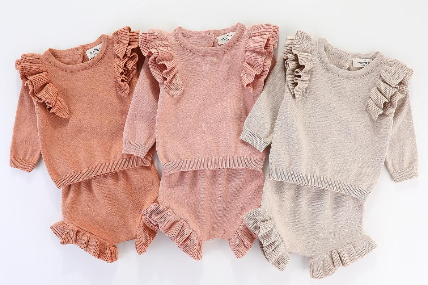 Gulia 2pcs Knitted Set: Jumper + bloomers: cream, peach, pink,