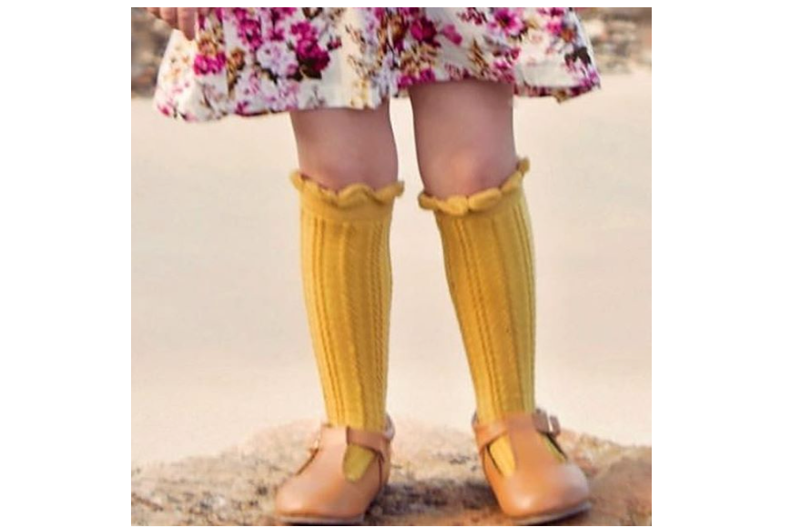 CHAIN KNEE HIGH SOCKS: 0-1Y, 1-2Y only left